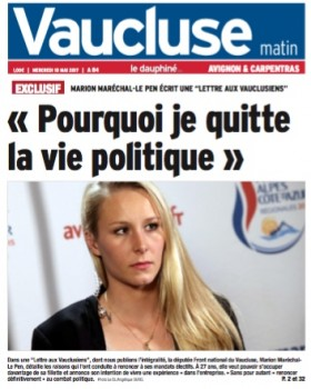 Marion abandona la política